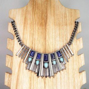 Silver, Turquoise & Lapis Stone Statement Necklace